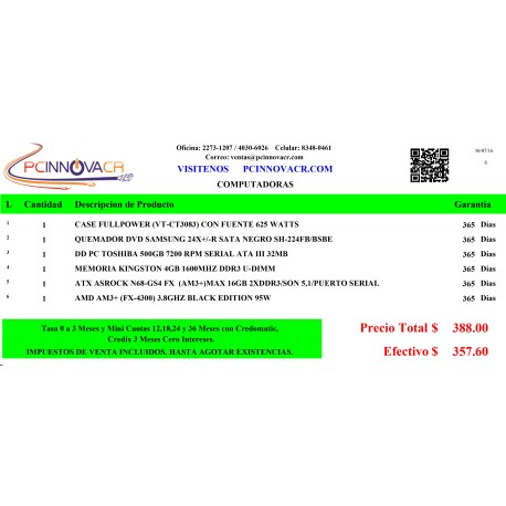 CPU COMPLETO ARMADO PROCESADOR FX-4300